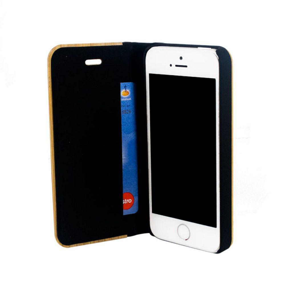 Étui à clapet en bois iPhone SE