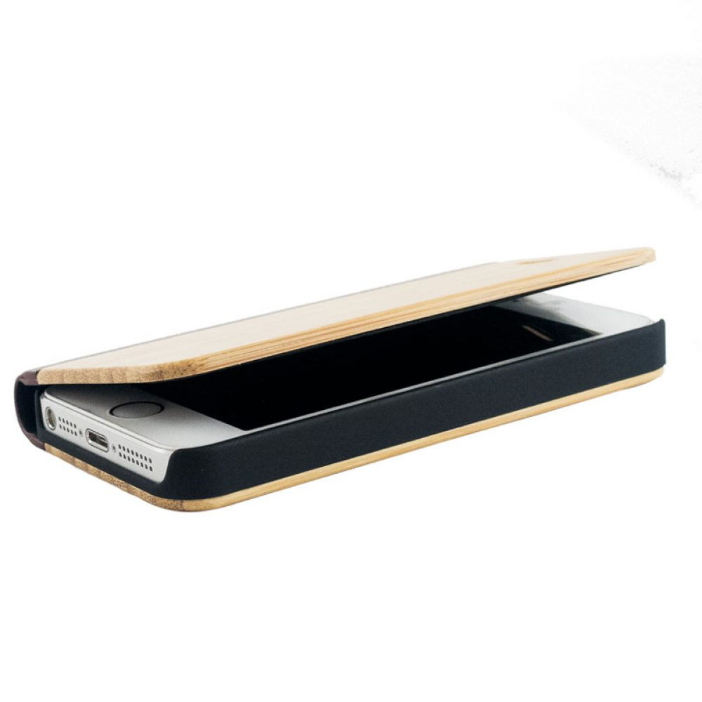 Étui à clapet en bois iPhone 5/5S/SE