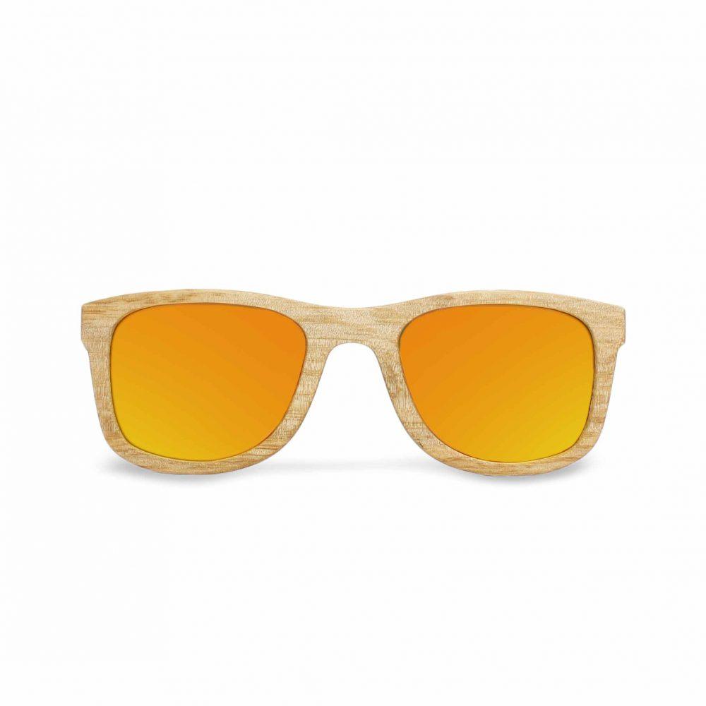 lunettes en bois verre orange